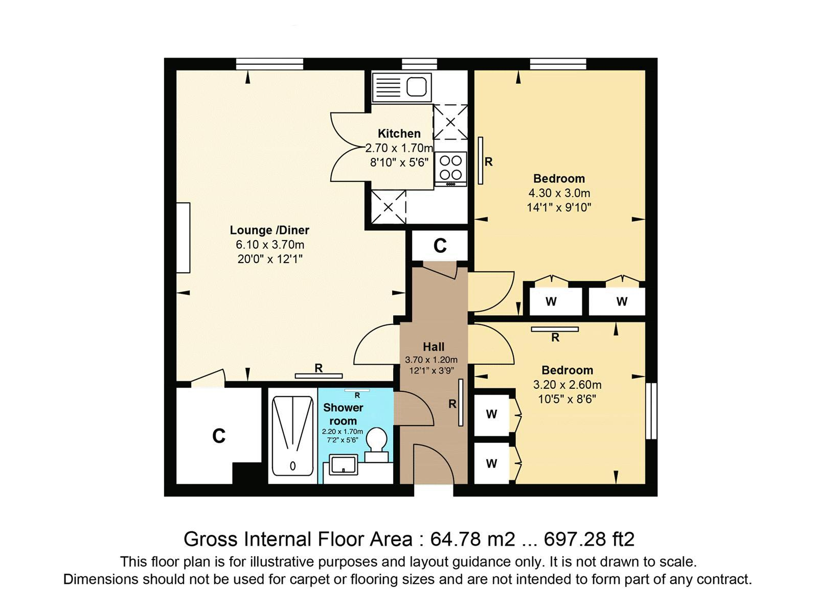 2 bed flat for sale in Ewell Road - Property Floorplan