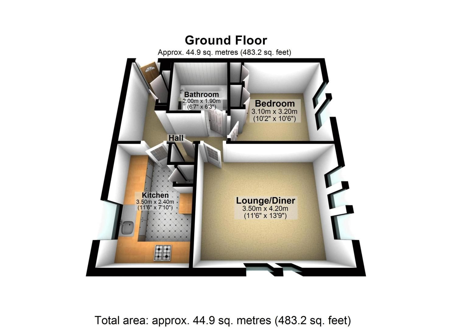 1 bed flat to rent in Lower Sawley Wood - Property Floorplan