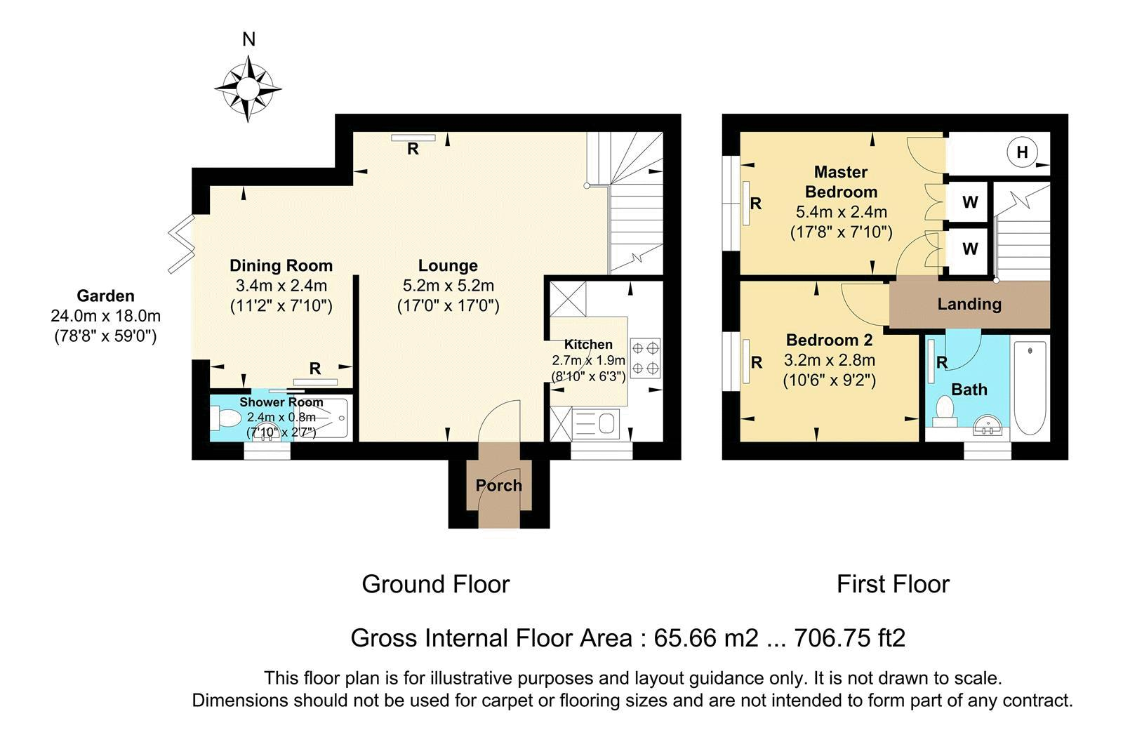 2 bed house for sale in Worcester Road - Property Floorplan