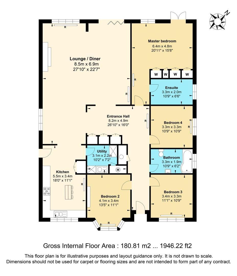 4 bed bungalow for sale in Nork Way - Property Floorplan