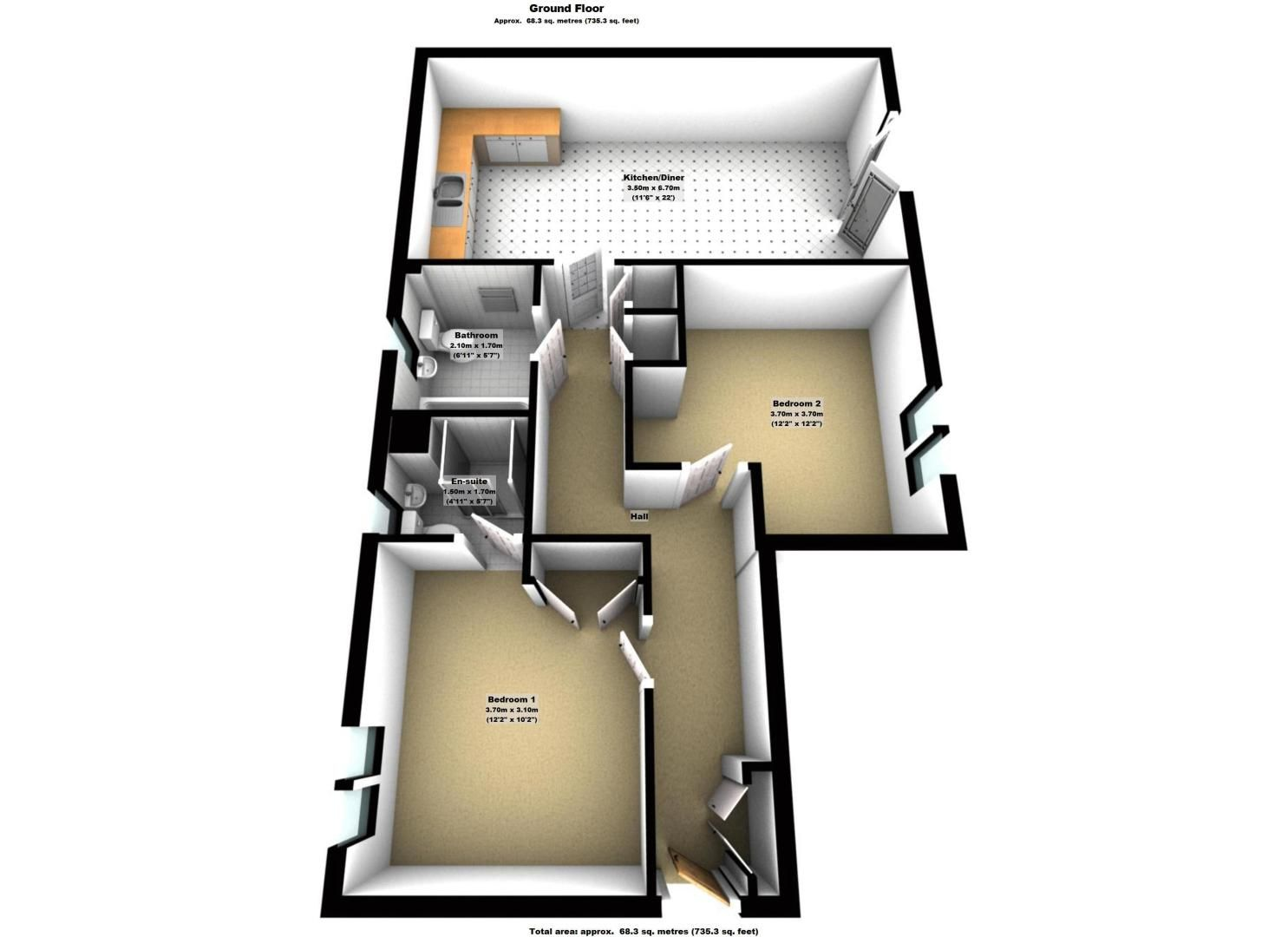 2 bed flat to rent in Wingfield Court - Property Floorplan