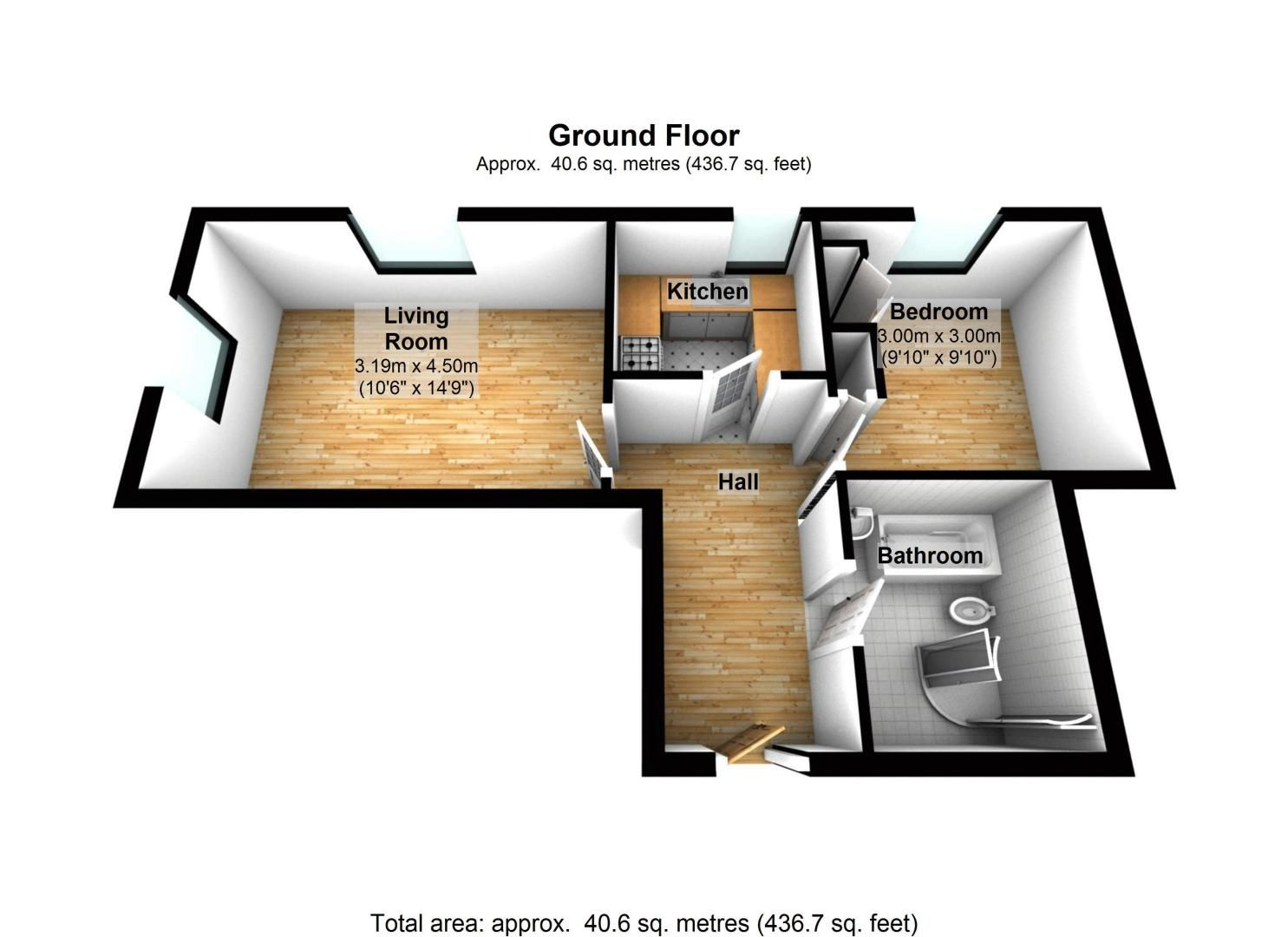 1 bed flat to rent in 28/32 Grafton Road - Property Floorplan