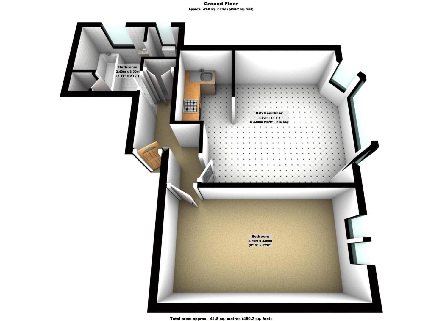 1 bed flat to rent in Camborne Road - Property Floorplan