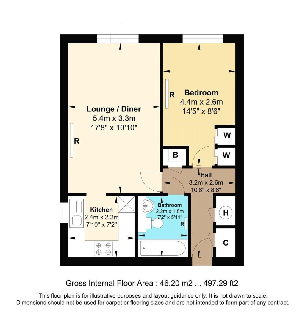 1 bed flat to rent in 45 Eaton Road - Property Floorplan