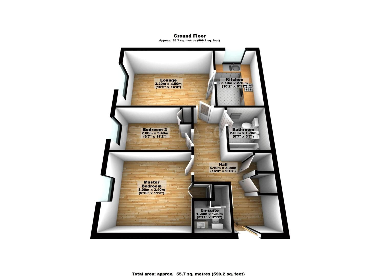 2 bed flat to rent in Maybury Court, Haling Park Road - Property Floorplan