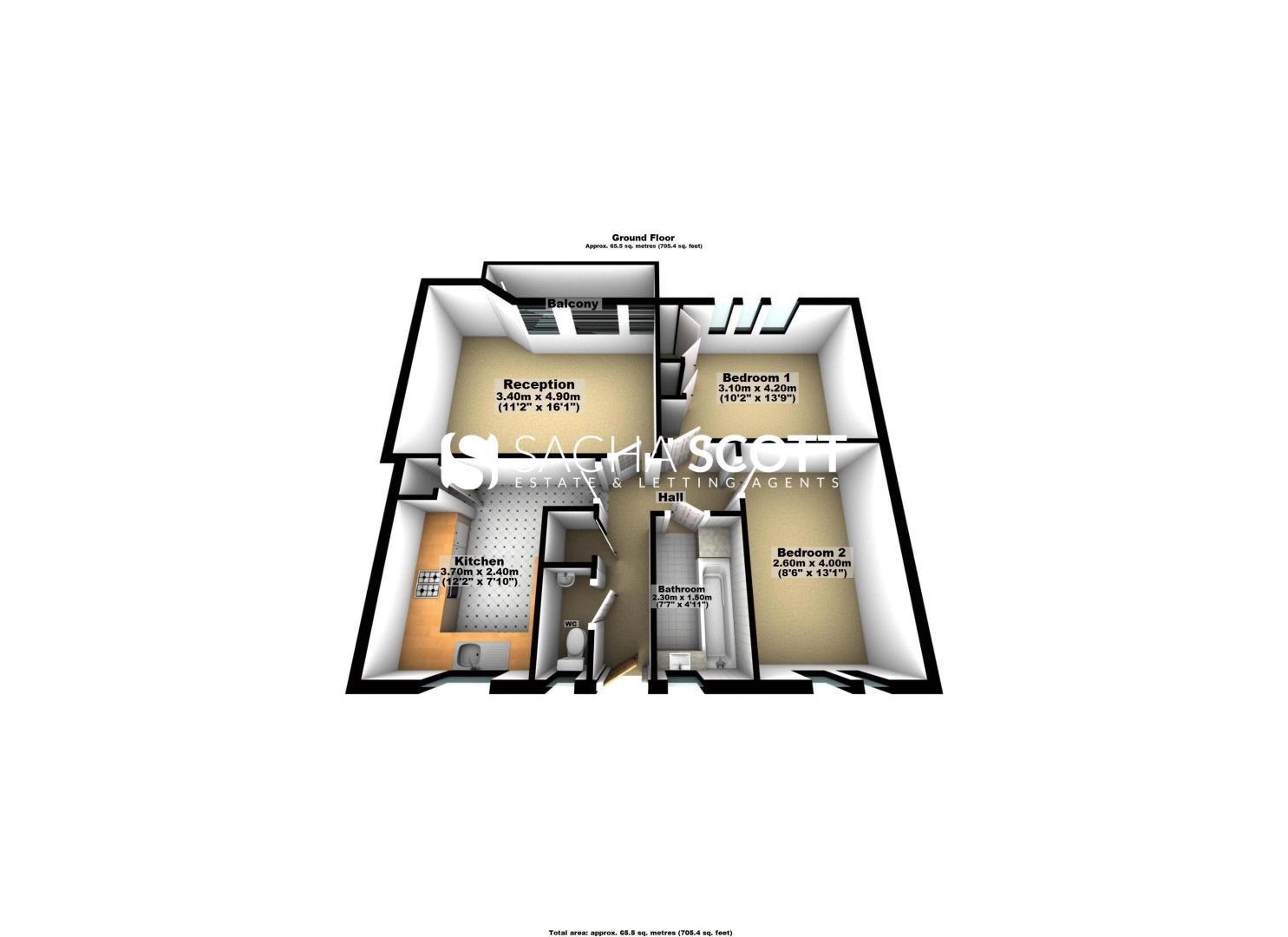 2 bed flat to rent in Broomhouse Lane - Property Floorplan