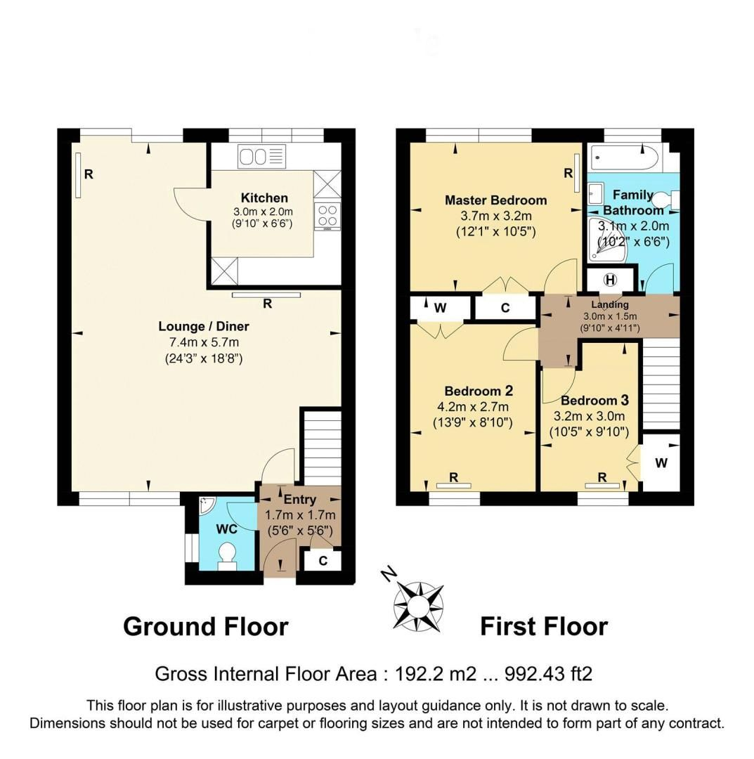 3 bed house for sale in Burnham Drive - Property Floorplan