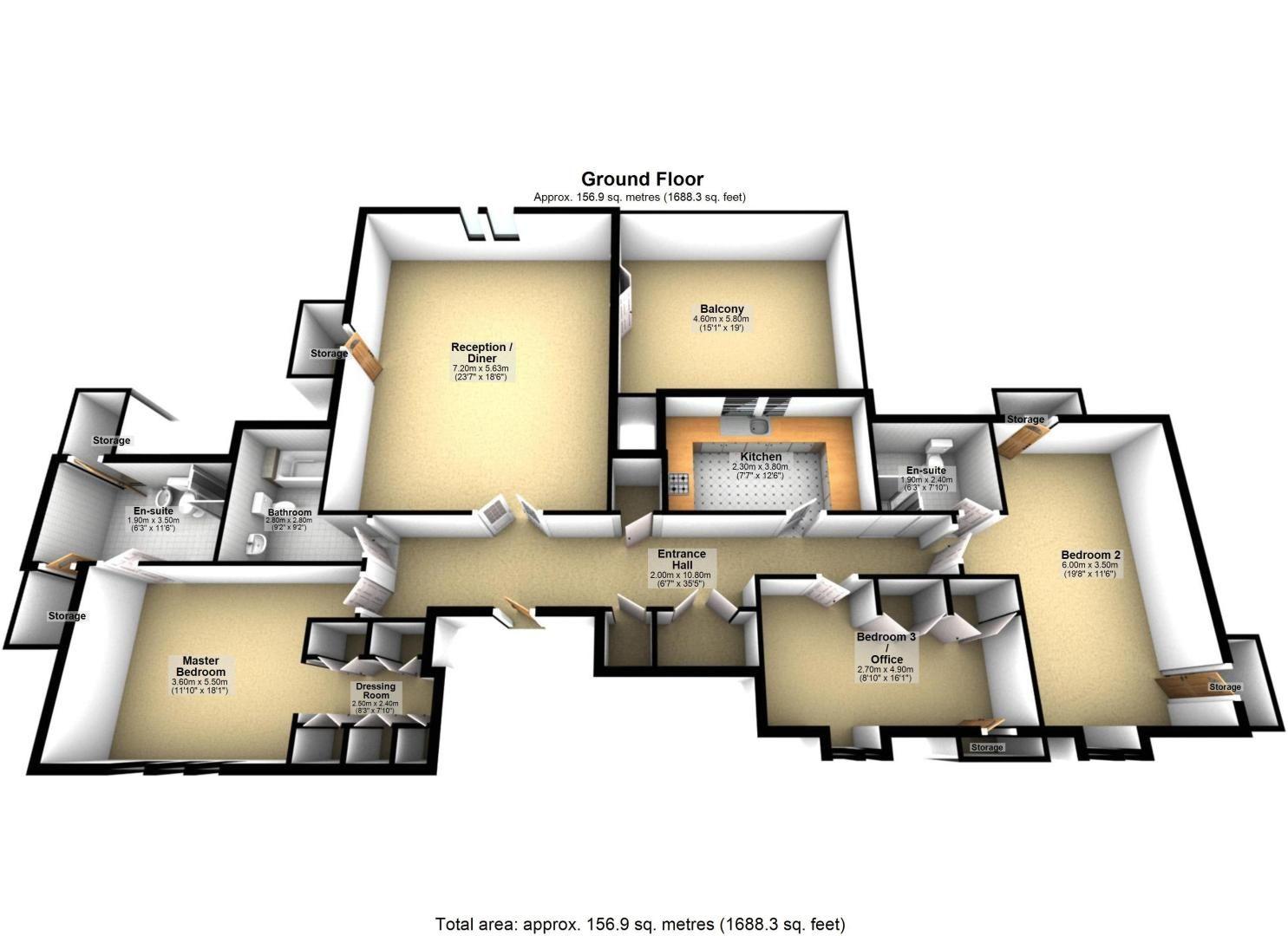 3 bed flat for sale in Babylon Lane - Property Floorplan