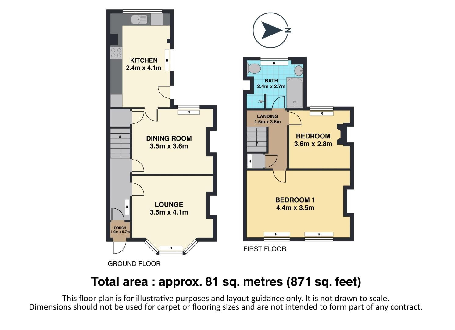 2 bed house to rent in Oakdale Road - Property Floorplan