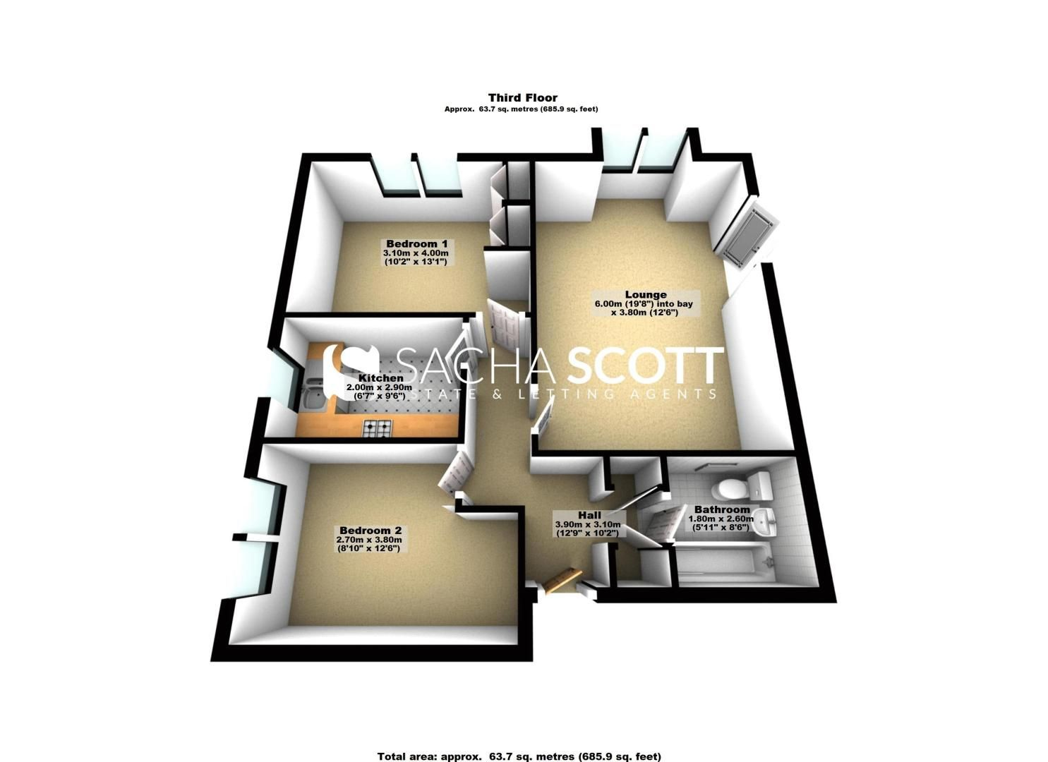 2 bed flat for sale in Hazel Way - Property Floorplan