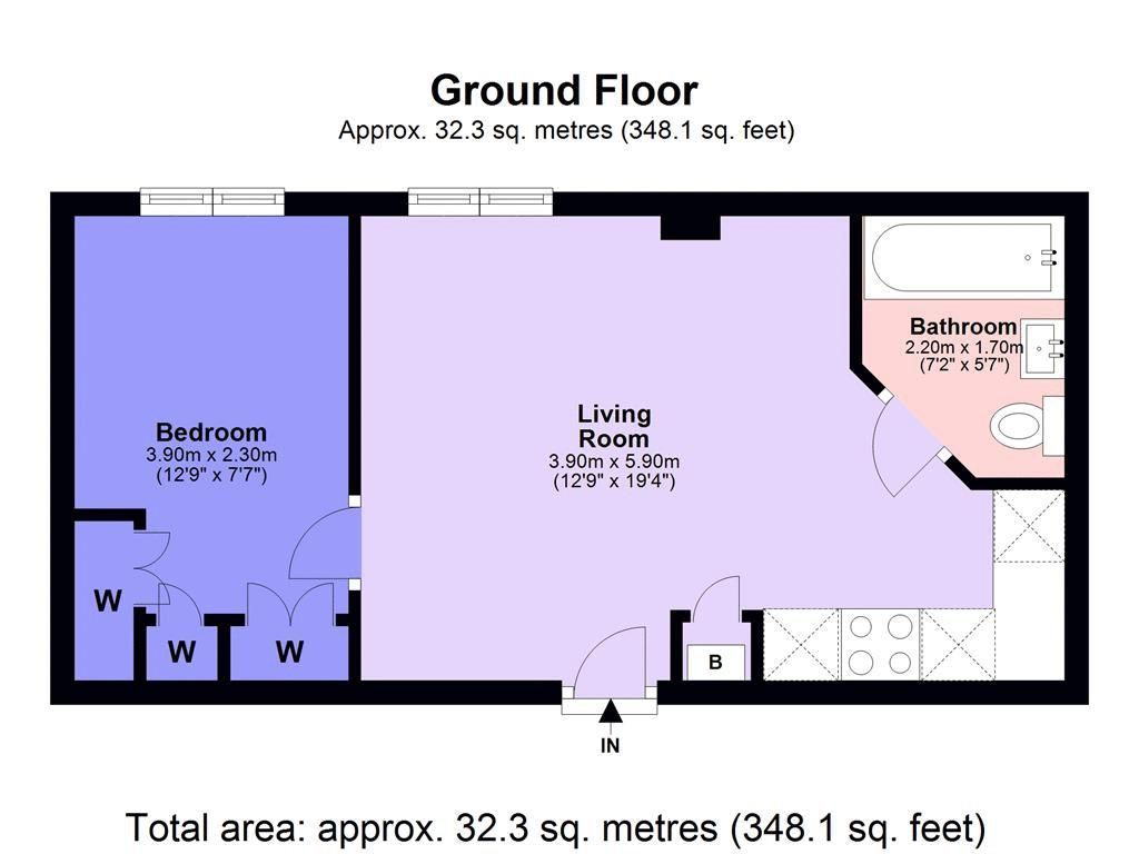 1 bed flat for sale in 57-59 South Street - Property Floorplan