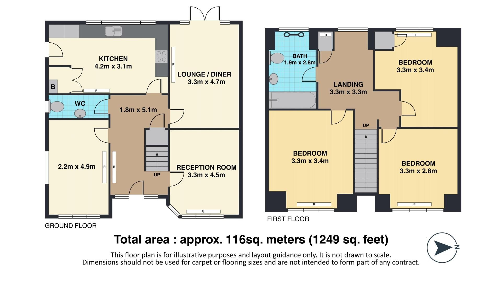 3 bed house for sale in Albert Road - Property Floorplan