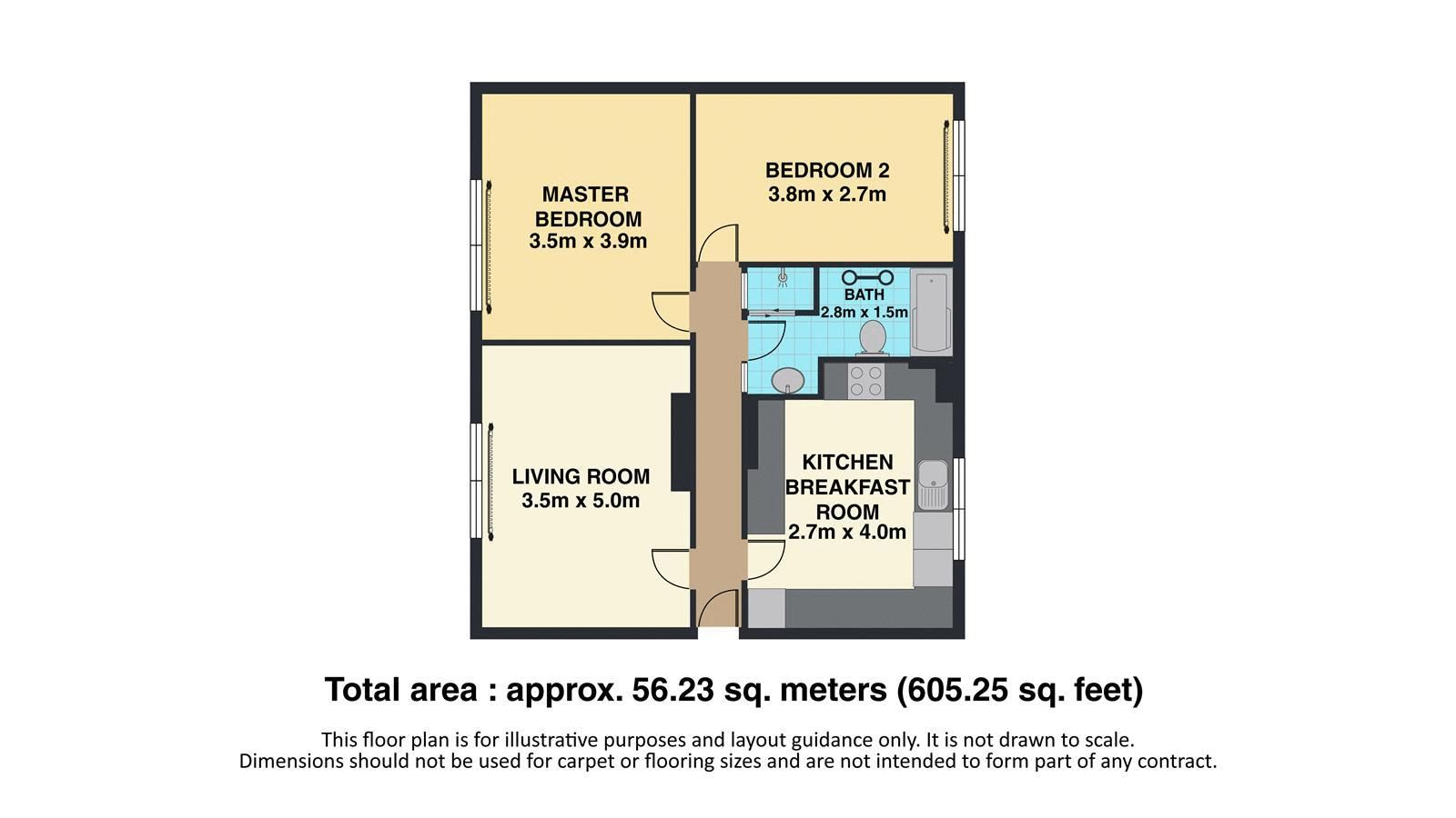 2 bed flat to rent in Eastgate - Property Floorplan