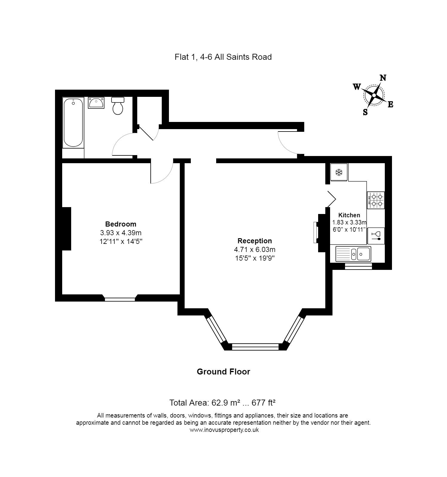 1 bed flat for sale in All Saints Road - Property Floorplan