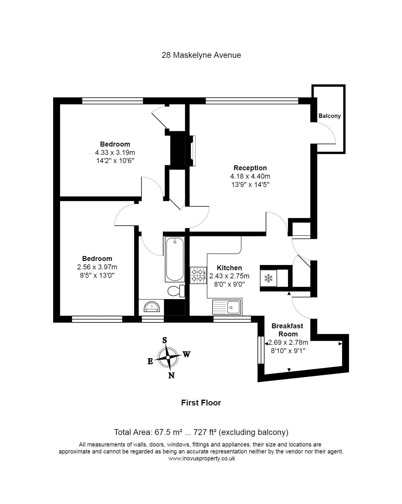2 bed flat for sale in Maskelyne Avenue - Property Floorplan