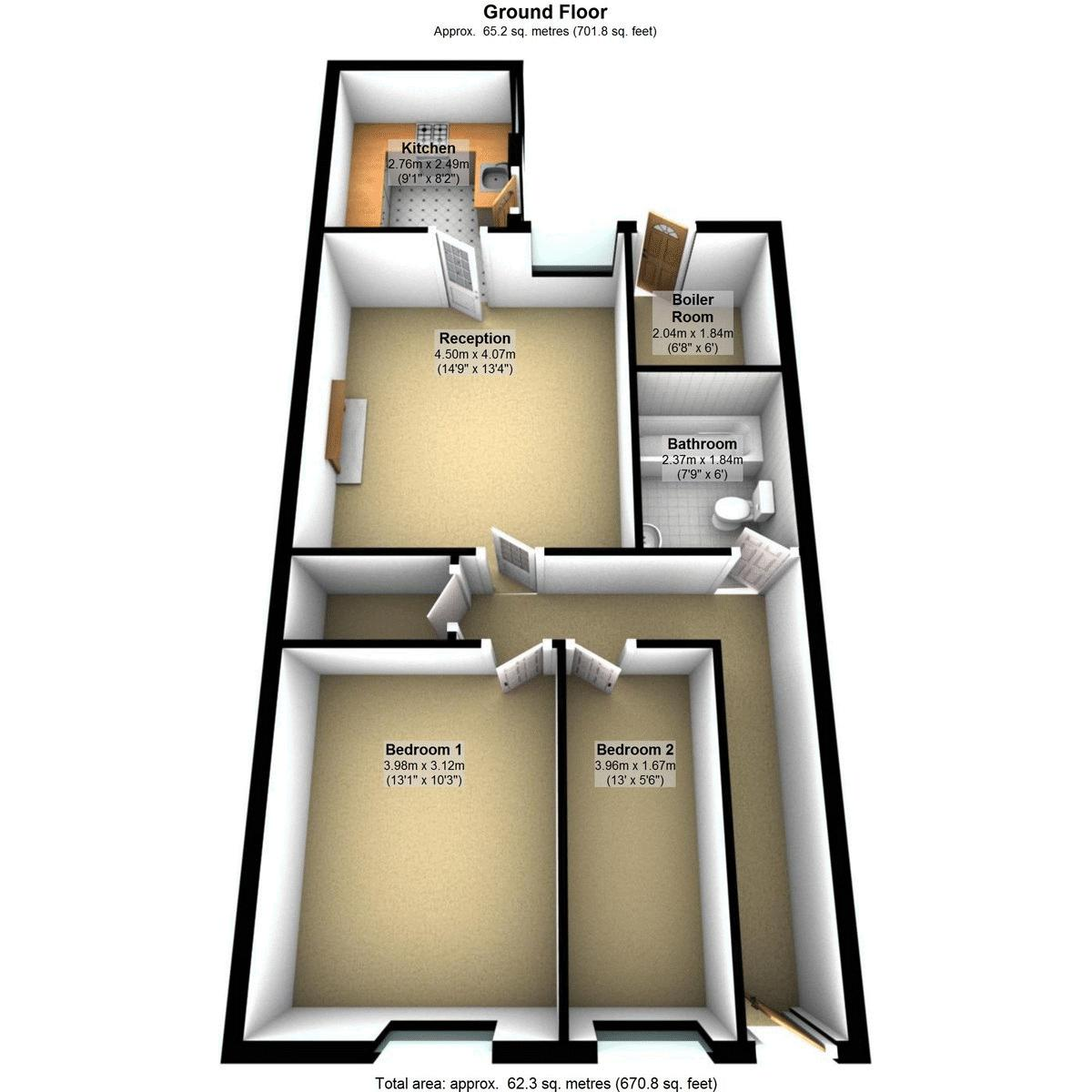 2 bed flat to rent in Hotwell Road - Property Floorplan