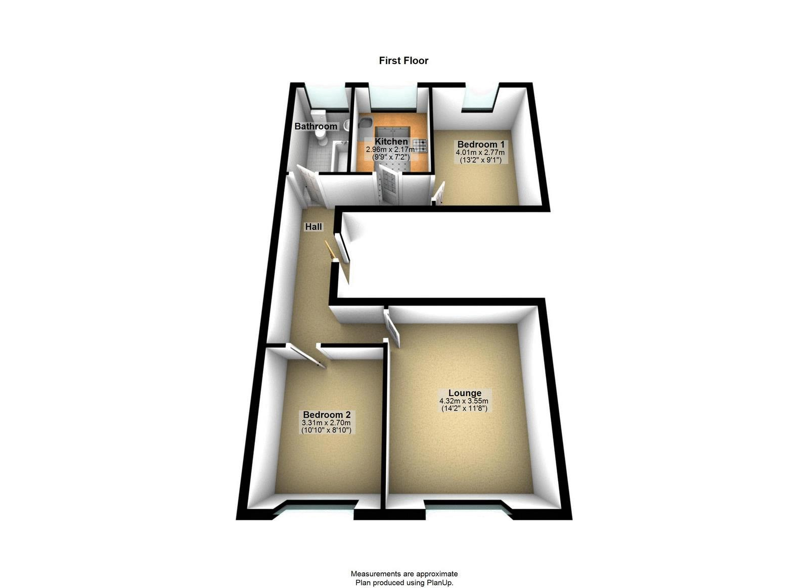 2 bed flat to rent in Chertsey Road - Property Floorplan