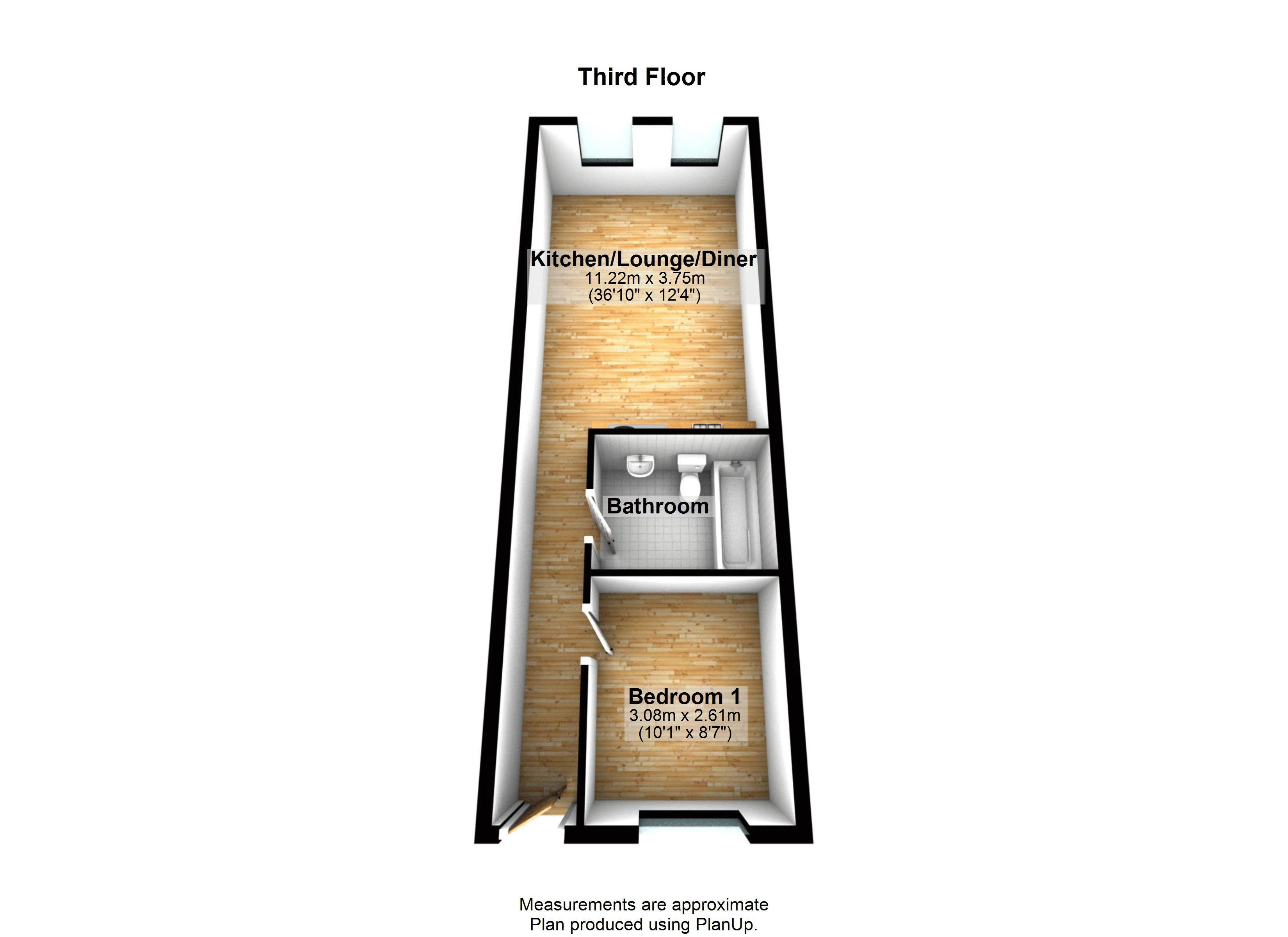 1 bed flat to rent in Skypark Road - Property Floorplan