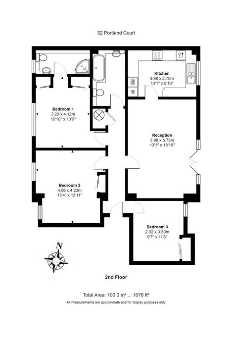 3 bed flat for sale in Portland Court, Cumberland Close, - Property Floorplan