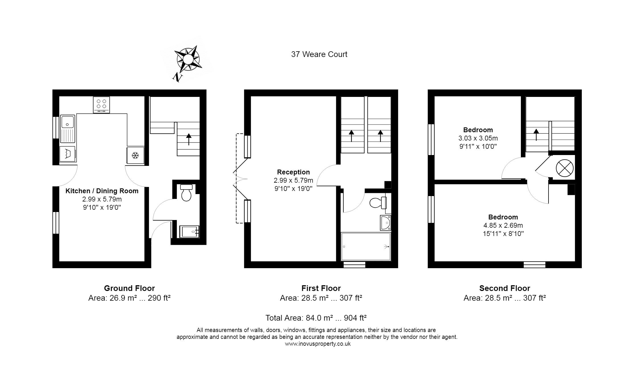 2 bed house for sale in Canada Way - Property Floorplan