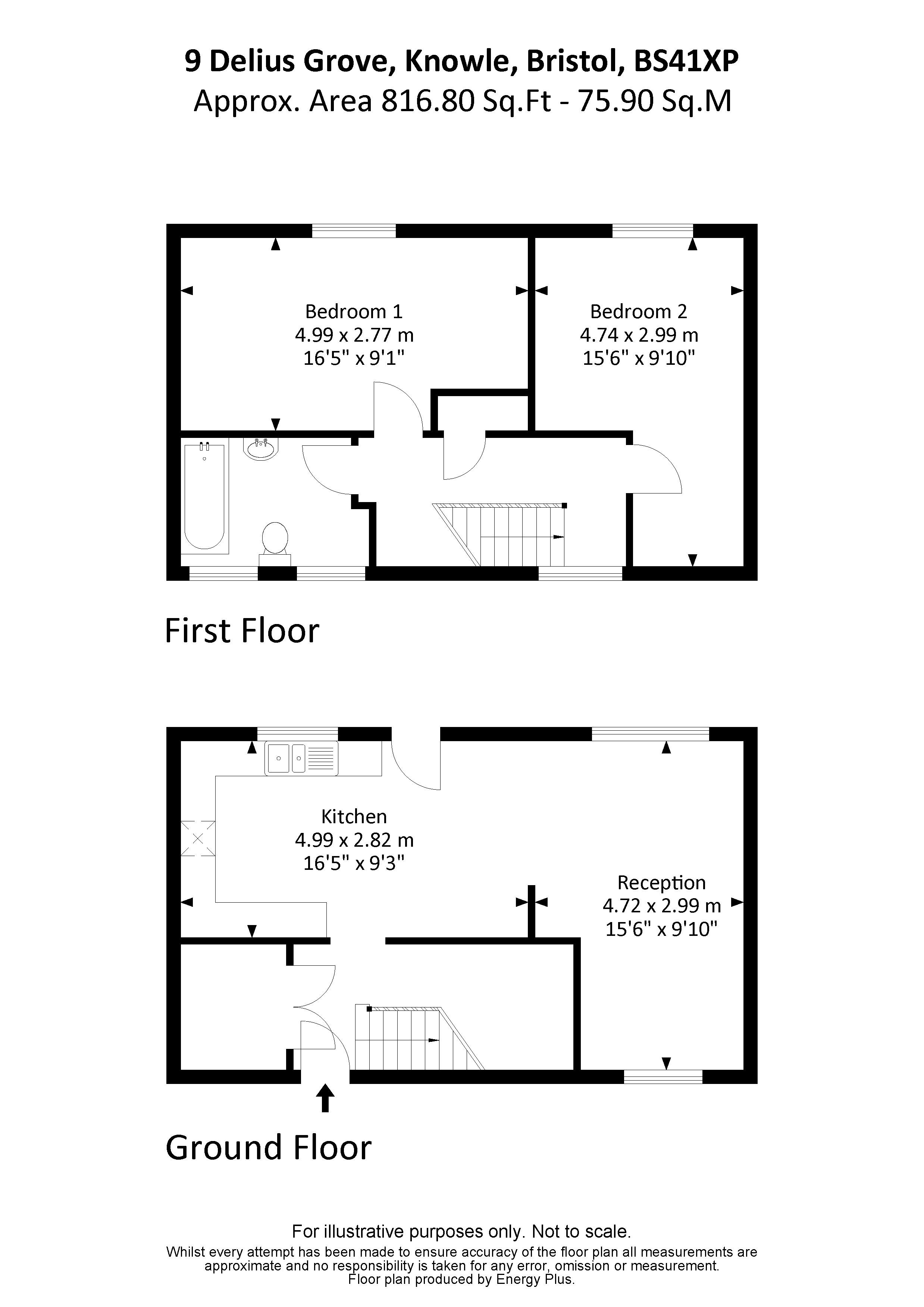 2 bed house for sale in Delius Grove - Property Floorplan