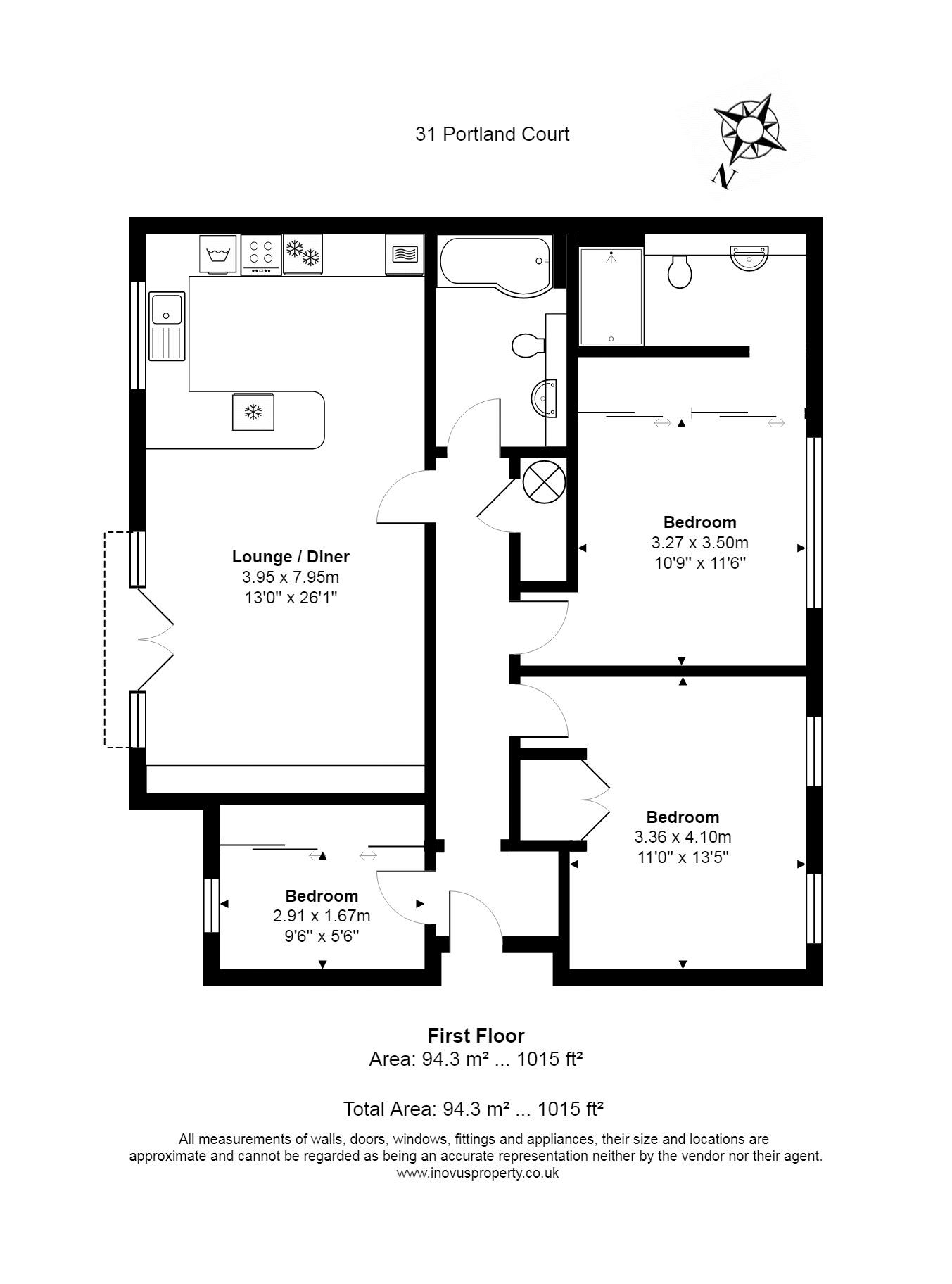 3 bed flat for sale in Cumberland Close - Property Floorplan