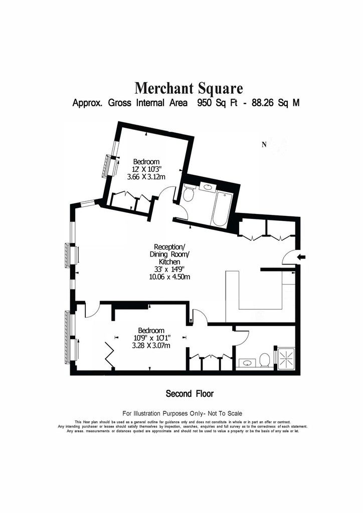 2 bed flat to rent in 3 Merchant Square 12
