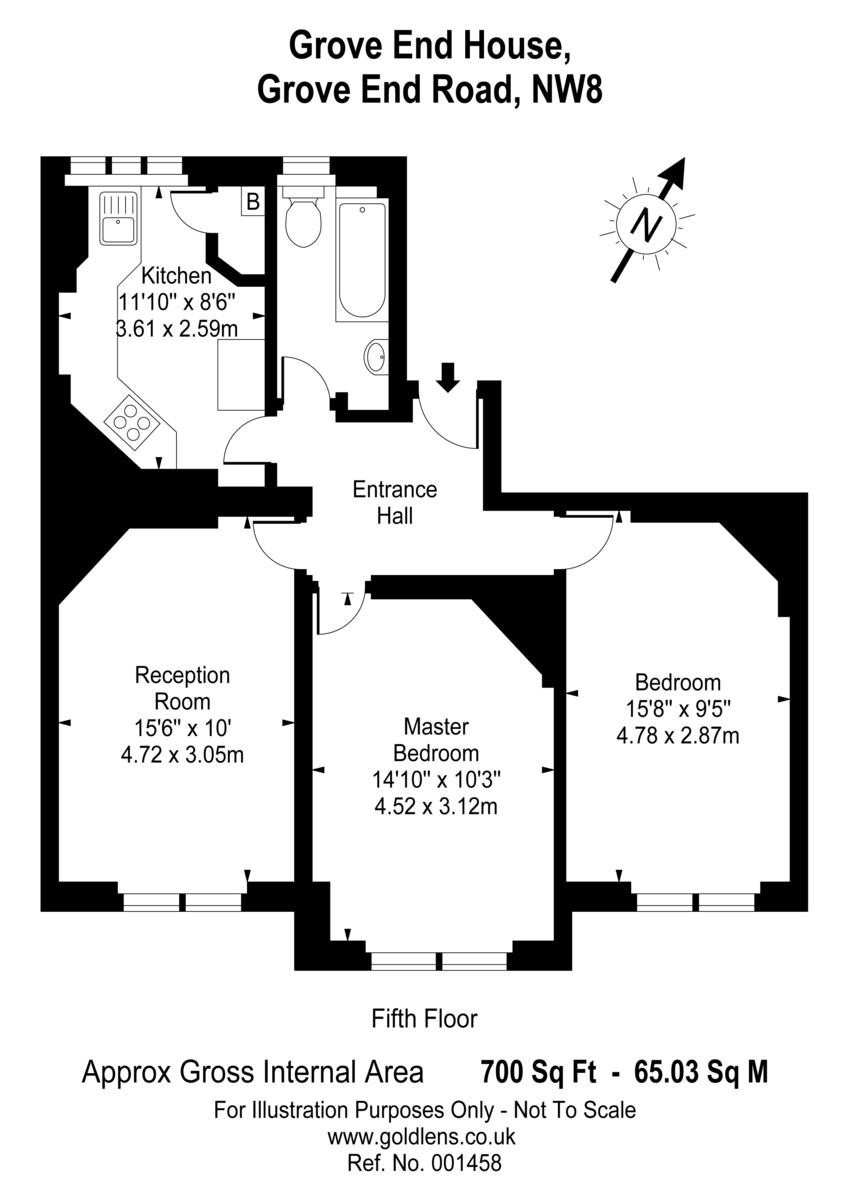 2 bed flat to rent in Grove End House - Property Floorplan