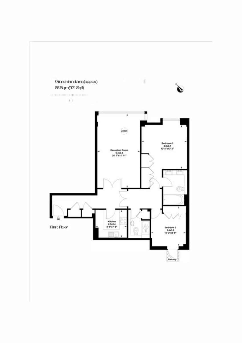 2 bed flat to rent in The Phoenix - Property Floorplan