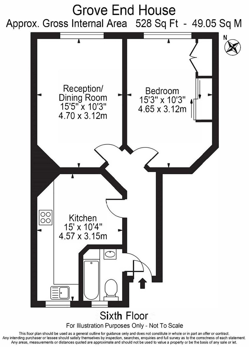 1 bed flat to rent in Grove End House - Property Floorplan