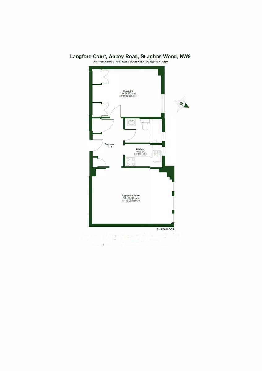 1 bed flat to rent in Langford Court - Property Floorplan