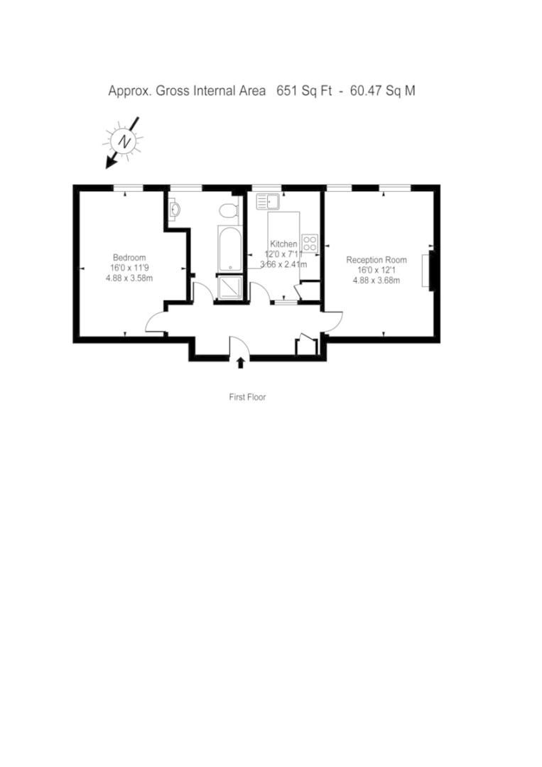 1 bed flat to rent in Mitre House, Kings Road - Property Floorplan