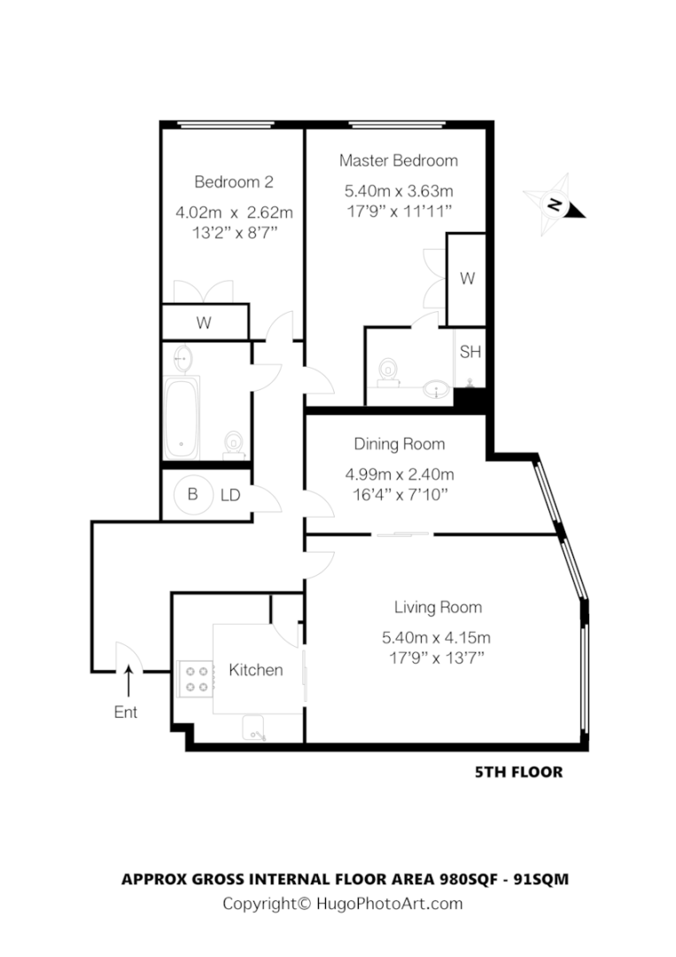 3 bed flat to rent in 21 Sheldon Square - Property Floorplan