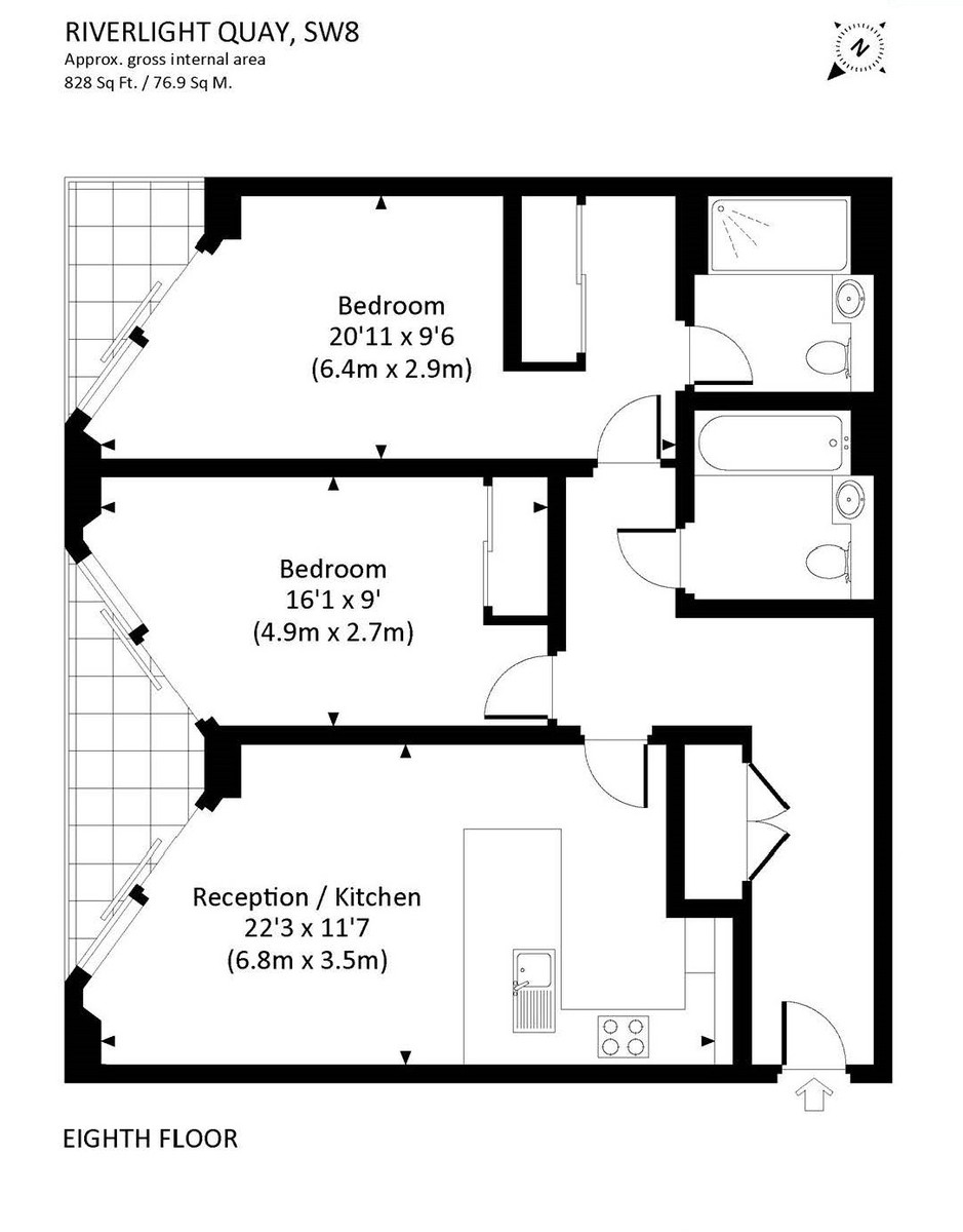 2 bed flat to rent in Riverlight Quay, London - Property Floorplan