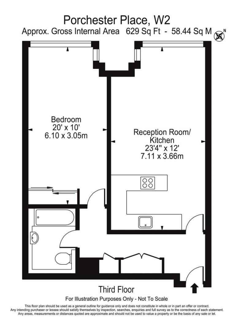 1 bed flat to rent in Porchester Place - Property Floorplan