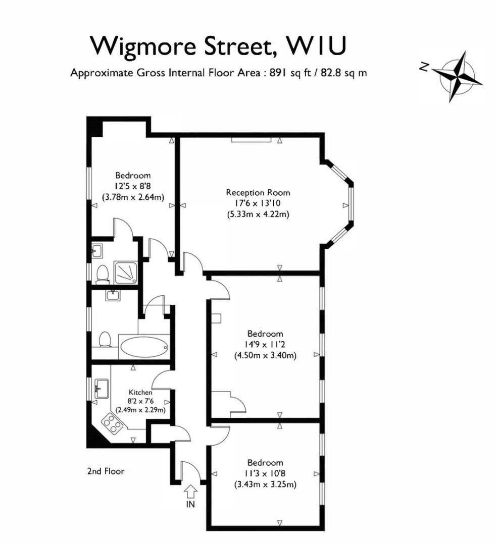 3 bed flat to rent in Wigmore Court, Wigmore Street - Property Floorplan