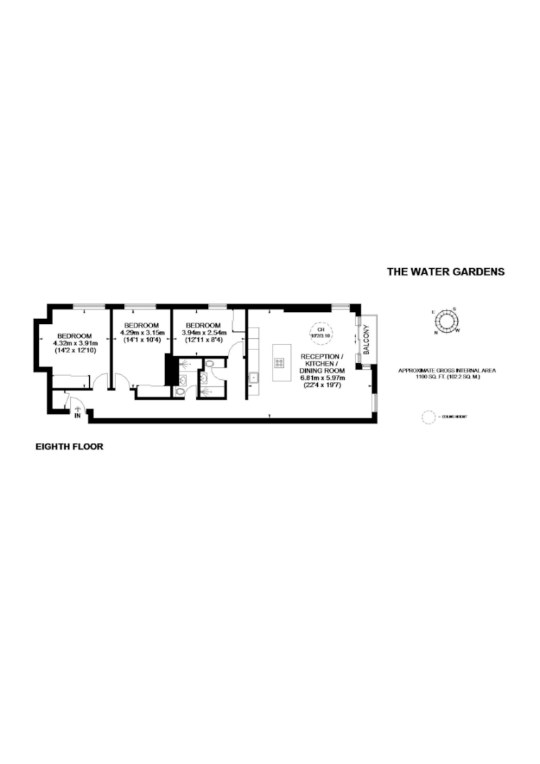 3 bed flat for sale in The Water Gardens, London  - Property Floorplan