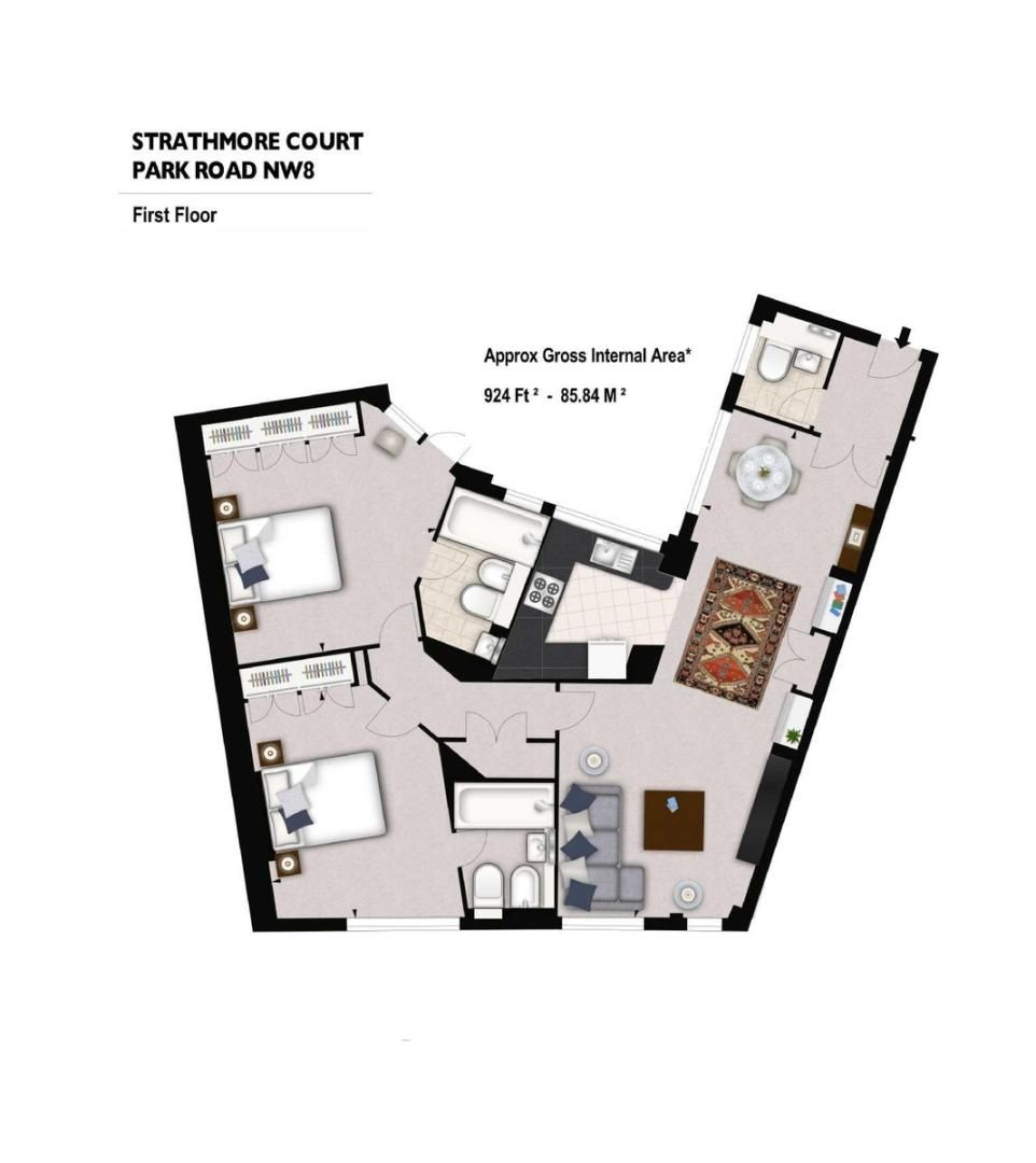 2 bed flat to rent in Strathmore Court - Property Floorplan