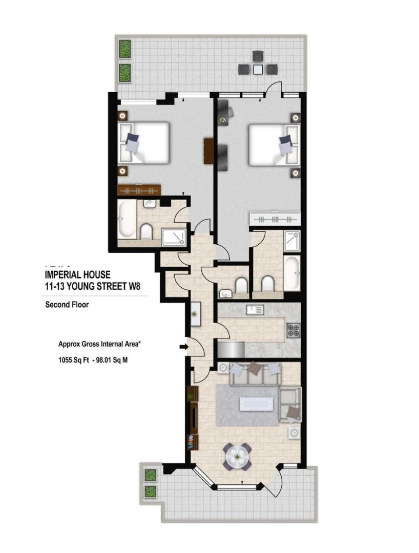2 bed flat to rent in Imperial House, Young Street - Property Floorplan