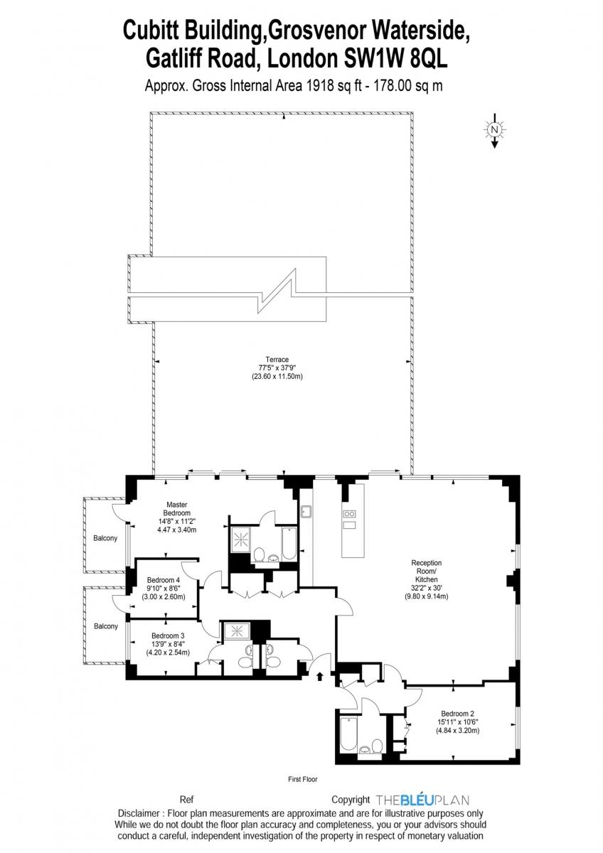 4 bed flat for sale in Cubitt Building, Gatliff Road - Property Floorplan