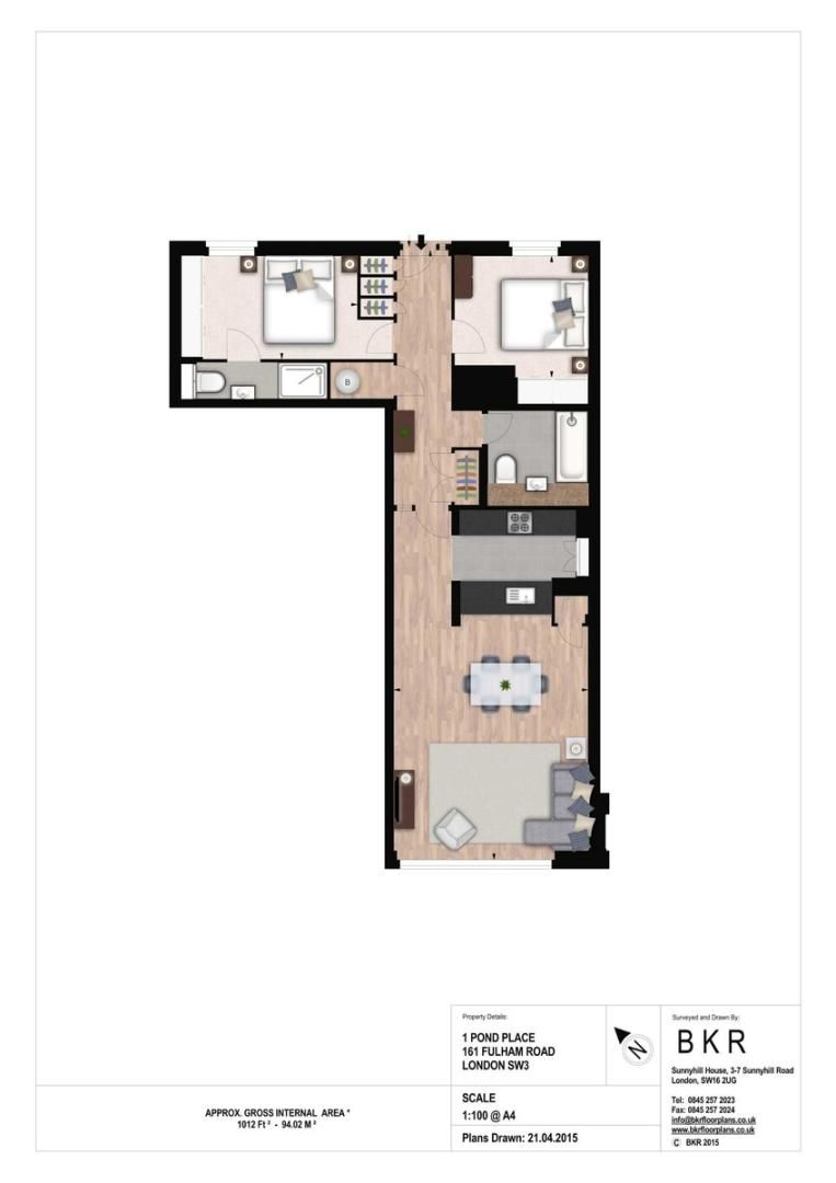 2 bed flat to rent in Fulham Road - Property Floorplan