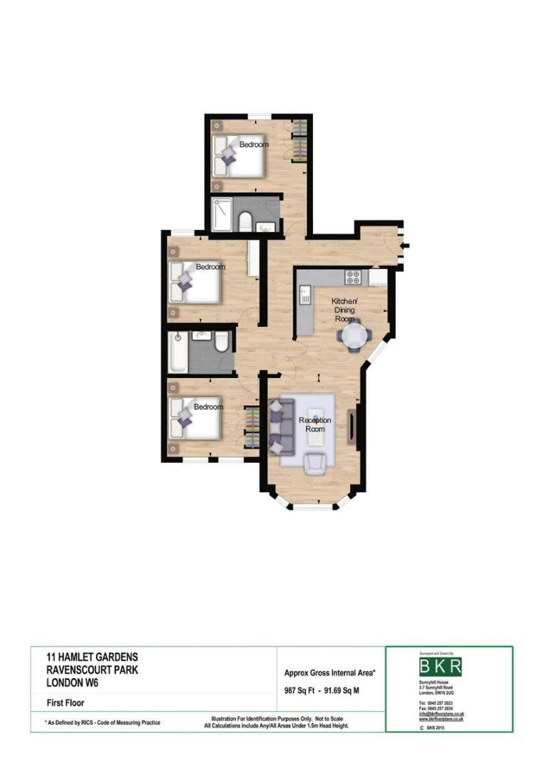 3 bed flat to rent in Hamlet Gardens - Property Floorplan
