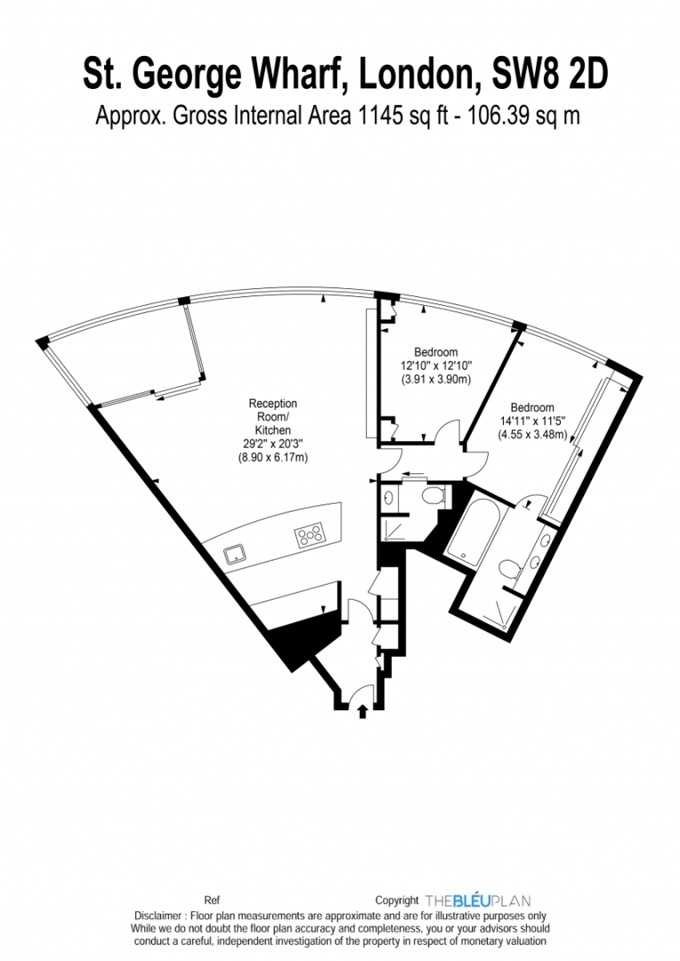2 bed flat to rent in The Tower, St. George Wharf, London - Property Floorplan