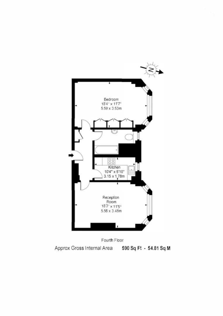 1 bed flat for sale in Northways, College Crescent - Property Floorplan