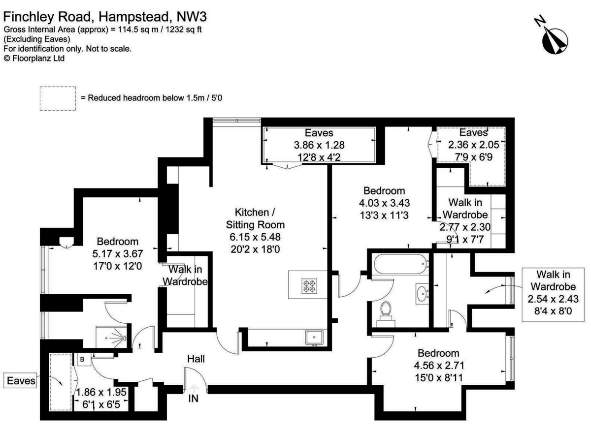 3 bed flat for sale in Finchley Road, London - Property Floorplan