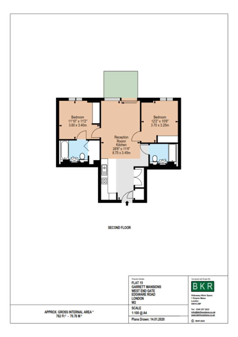 2 bed flat to rent in Garrett Mansions, 287 Edgware Road - Property Floorplan