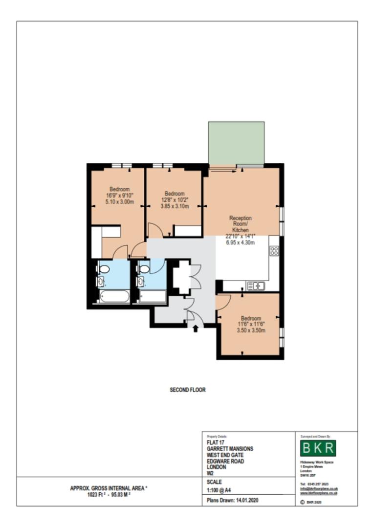 3 bed flat to rent in Garrett Mansions, 287 Edgware Road - Property Floorplan