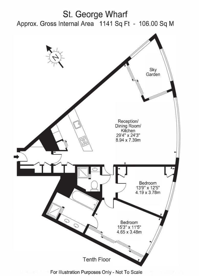 2 bed flat to rent in The Tower, 1 St. George Wharf - Property Floorplan