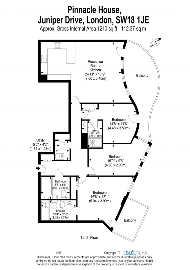 3 bed flat to rent in Pinnacle House, Battersea Reach - Property Floorplan