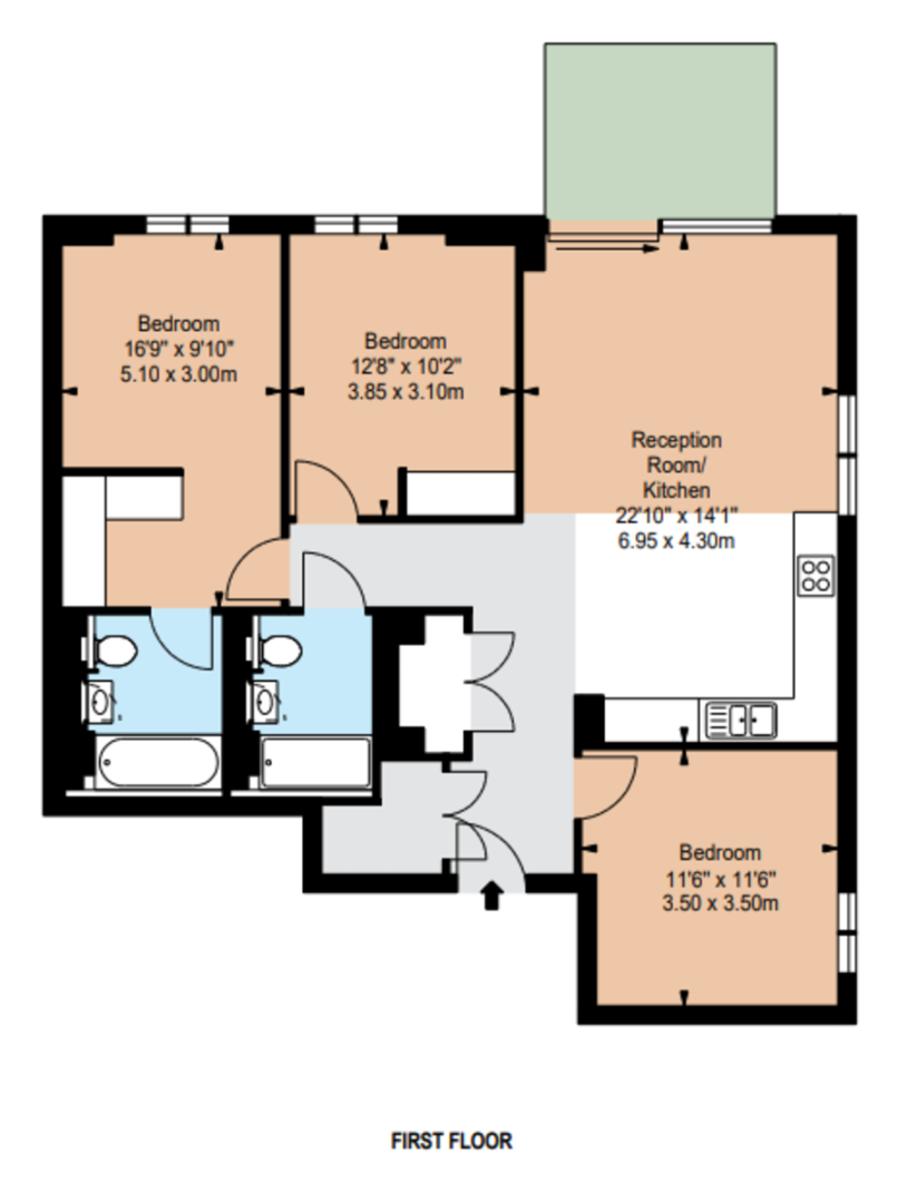 3 bed flat to rent in Garrett Mansions, 287 Edgware Road - Property Floorplan
